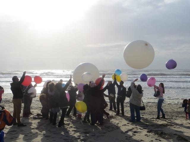 Ballonverstrooiing met nabestaanden